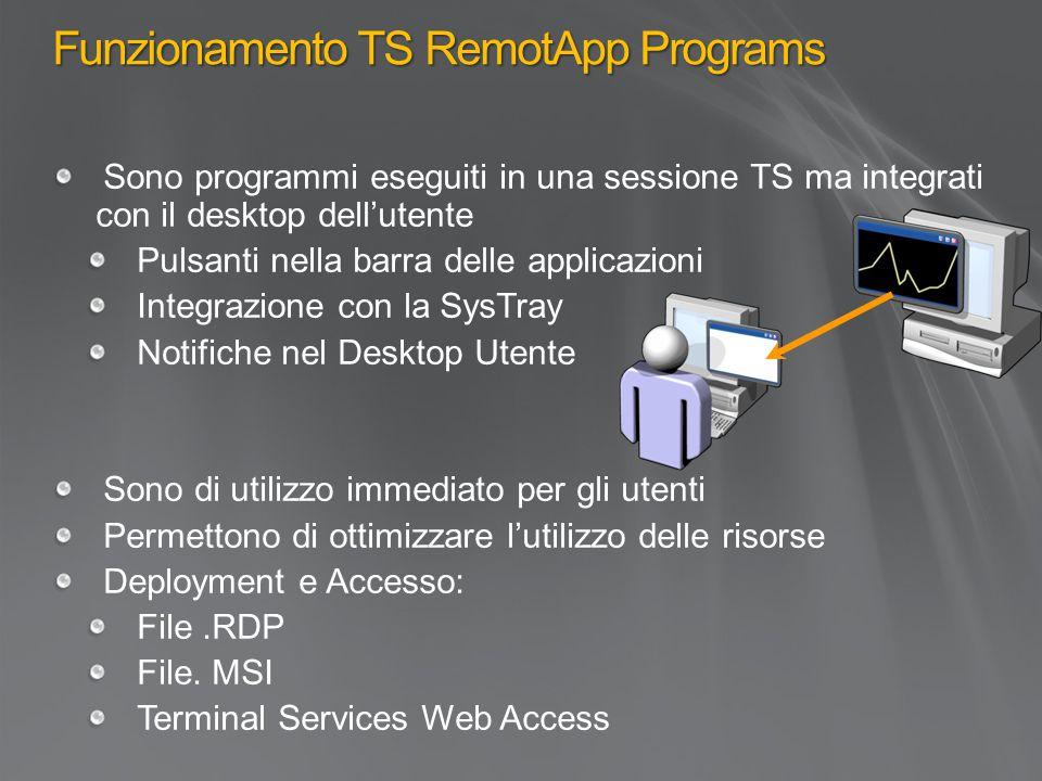 Funzionamento TS RemotApp Programs Sono programmi eseguiti in una sessione TS ma integrati con il desktop dell'utente Pulsanti nella barra delle applicazioni Integrazione con la SysTray Notifiche nel Desktop Utente Sono di utilizzo immediato per gli utenti Permettono di ottimizzare l'utilizzo delle risorse Deployment e Accesso: File.RDP File.