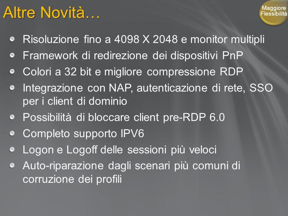 Altre Novità… Risoluzione fino a 4098 X 2048 e monitor multipli Framework di redirezione dei dispositivi PnP Colori a 32 bit e migliore compressione RDP Integrazione con NAP, autenticazione di rete, SSO per i client di dominio Possibilità di bloccare client pre-RDP 6.0 Completo supporto IPV6 Logon e Logoff delle sessioni più veloci Auto-riparazione dagli scenari più comuni di corruzione dei profili Maggiore Flessibilità