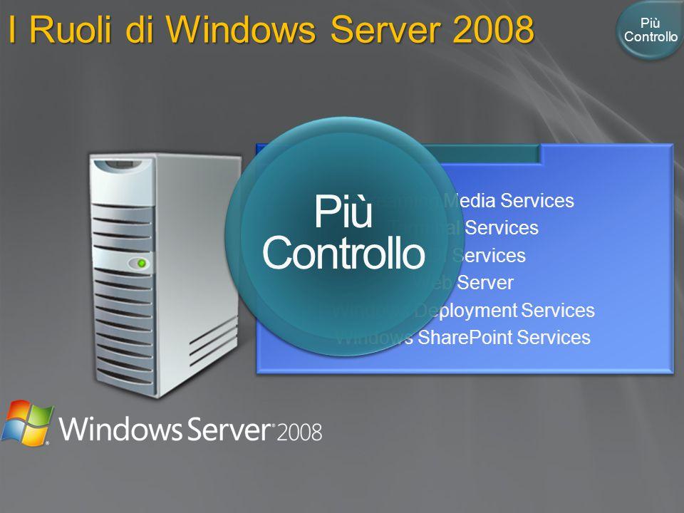 I Ruoli di Windows Server 2008 Active Directory Certificate Services Active Directory Domain Services Active Directory Federation Services Active Dire