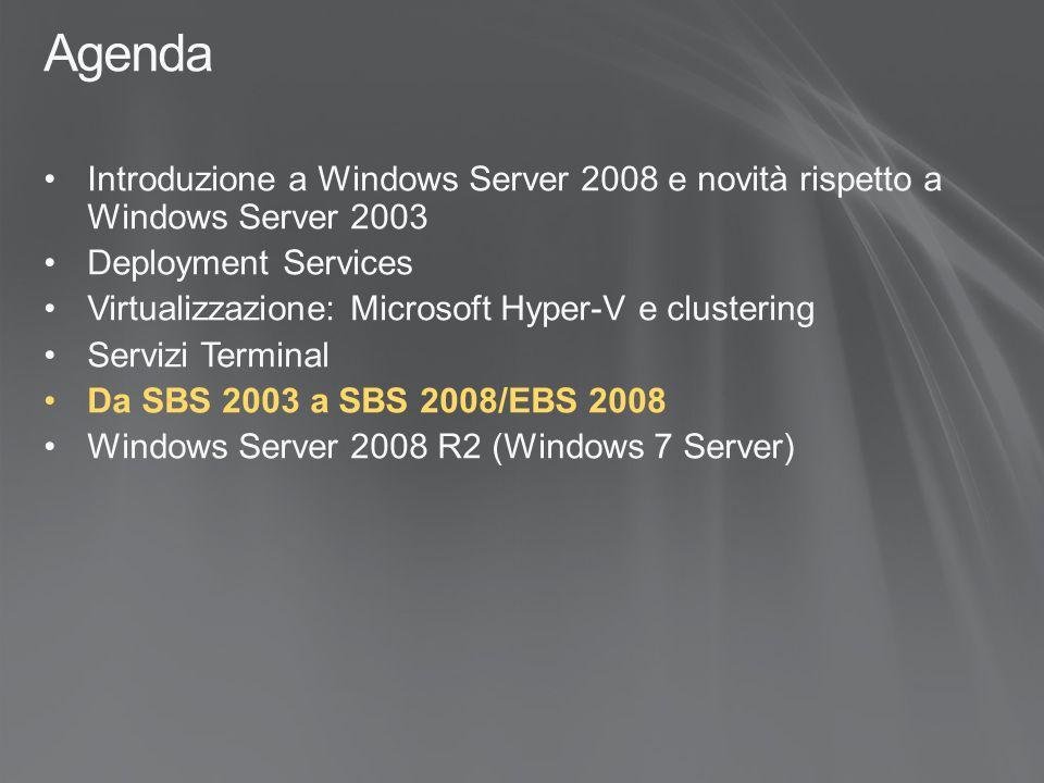 Agenda Introduzione a Windows Server 2008 e novità rispetto a Windows Server 2003 Deployment Services Virtualizzazione: Microsoft Hyper-V e clustering