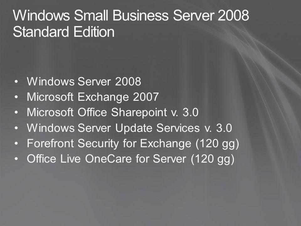 Windows Small Business Server 2008 Standard Edition Windows Server 2008 Microsoft Exchange 2007 Microsoft Office Sharepoint v. 3.0 Windows Server Upda