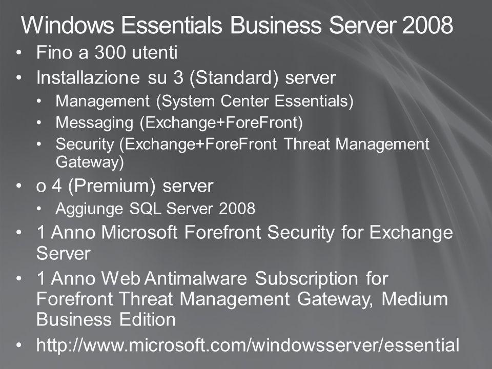 Windows Essentials Business Server 2008 Fino a 300 utenti Installazione su 3 (Standard) server Management (System Center Essentials) Messaging (Exchan