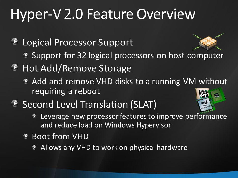 Hyper-V 2.0 Feature Overview Logical Processor Support Support for 32 logical processors on host computer Hot Add/Remove Storage Add and remove VHD di