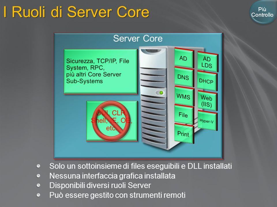I Ruoli di Server Core Solo un sottoinsieme di files eseguibili e DLL installati Nessuna interfaccia grafica installata Disponibili diversi ruoli Server Può essere gestito con strumenti remoti Più Controllo