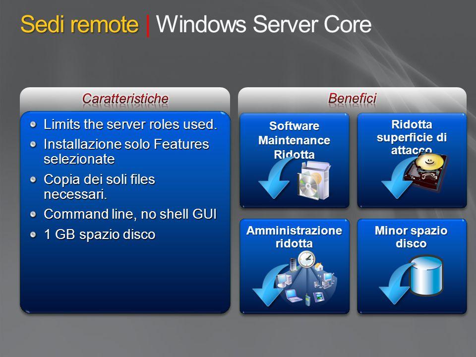 Sedi remote Sedi remote | Windows Server Core Software Maintenance Ridotta Ridotta Limits the server roles used. Installazione solo Features seleziona