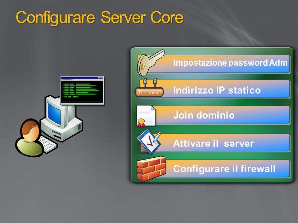 Configurare Server Core Indirizzo IP statico Join dominio Attivare il server Configurare il firewall Impostazione password Adm 192.168.0.1