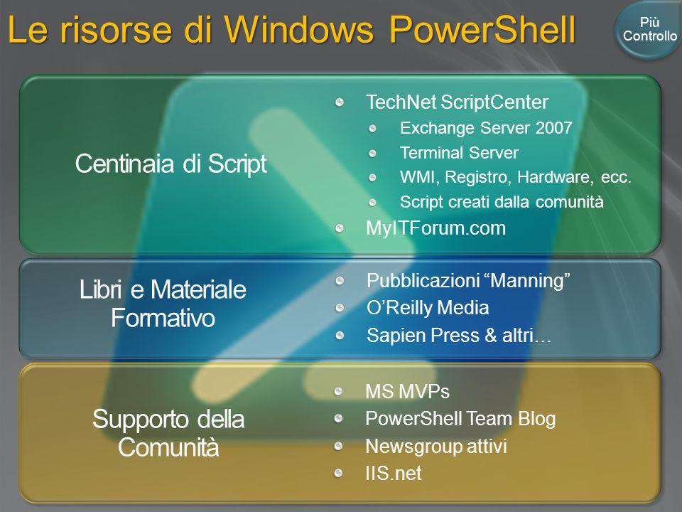 Le risorse di Windows PowerShell Centinaia di Script Libri e Materiale Formativo Supporto della Comunità MS MVPs PowerShell Team Blog Newsgroup attivi