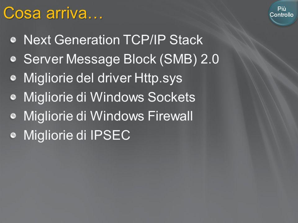 Cosa arriva… Più Controllo Next Generation TCP/IP Stack Server Message Block (SMB) 2.0 Migliorie del driver Http.sys Migliorie di Windows Sockets Migliorie di Windows Firewall Migliorie di IPSEC