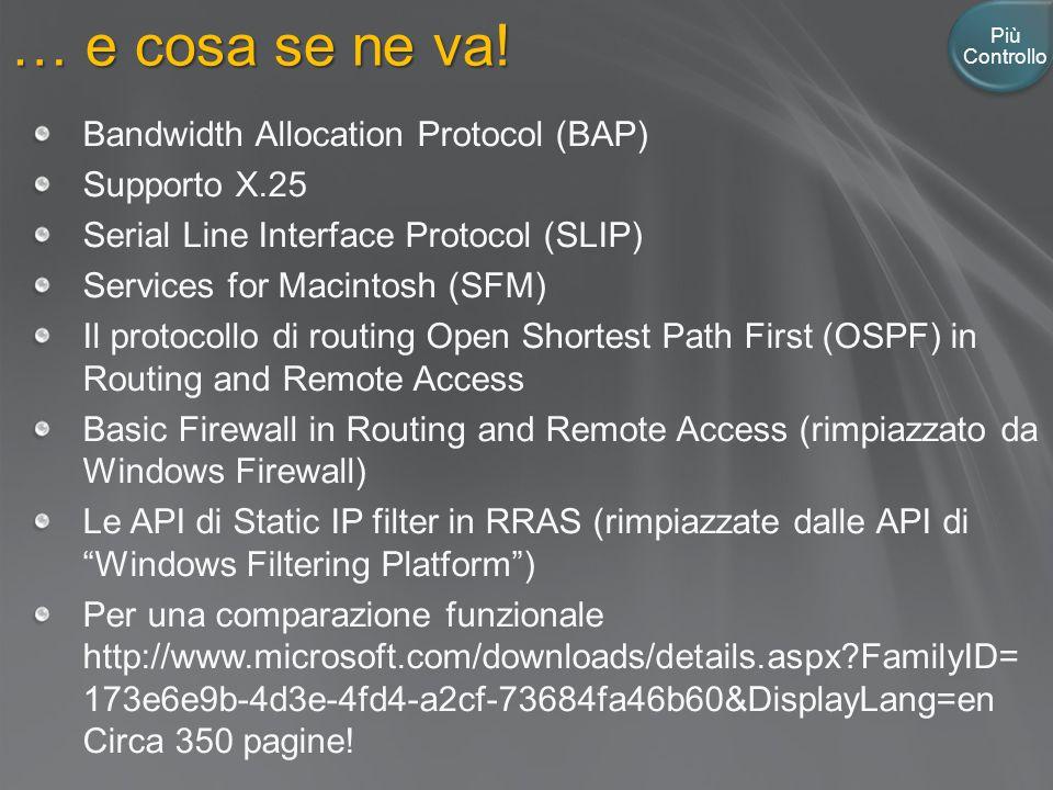… e cosa se ne va! Più Controllo Bandwidth Allocation Protocol (BAP) Supporto X.25 Serial Line Interface Protocol (SLIP) Services for Macintosh (SFM)