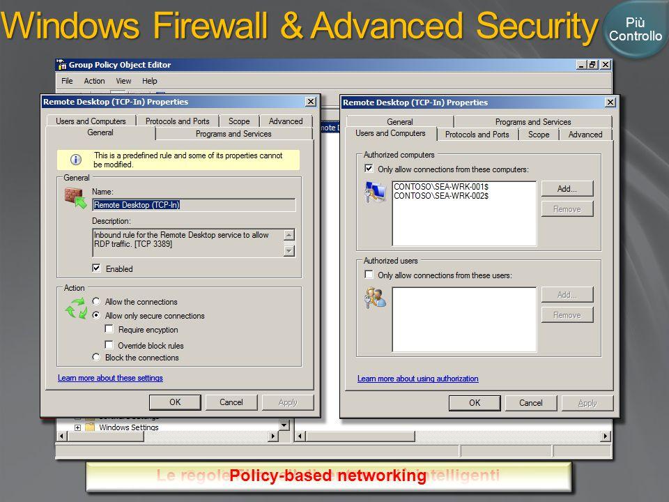 Più Controllo Windows Firewall & Advanced Security Gestione combinata Firewall e IPsec Le regole Firewall diventano più intelligenti Policy-based networking
