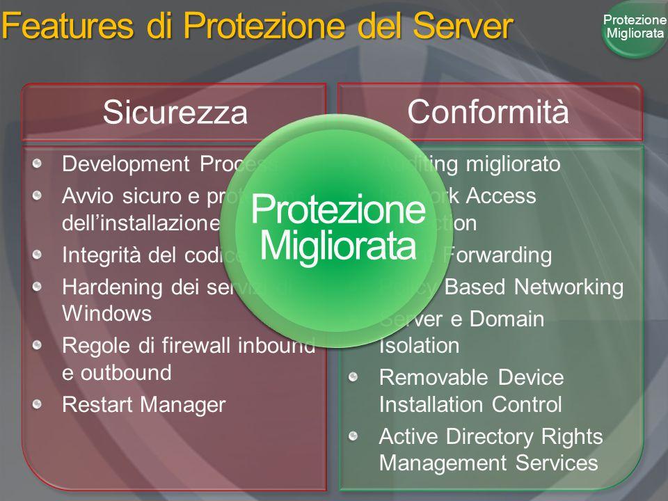 Features di Protezione del Server Protezione Migliorata Development Process Avvio sicuro e protezione dell'installazione Integrità del codice Hardenin