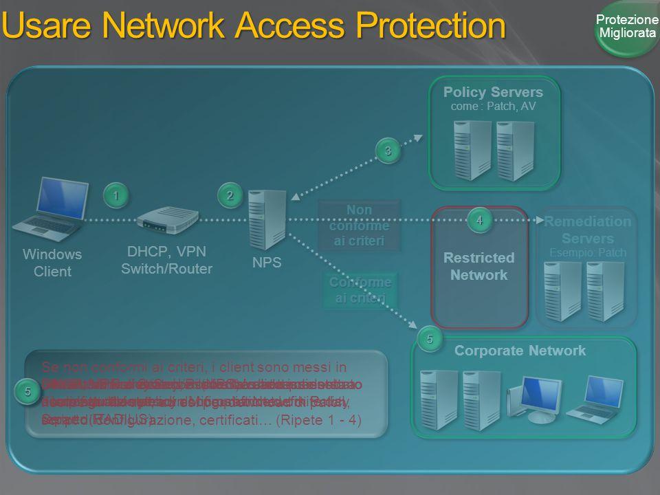 Remediation Servers Esempio: Patch Non conforme ai criteri Conforme ai criteri 11 Usare Network Access Protection Restricted Network 11 Windows Client 22 22 DHCP, VPN o Switch/Router trasmettono lo stato di configurazione a un Microsoft Network Policy Server (RADIUS) 33 33 Il Network Policy Server (NPS) valida i client analizzando le policy di compliance definite dal reparto IT 44 Se non conformi ai criteri, i client sono messi in una VLAN ristretta ed è loro dato accesso solo a risorse di fix-up , ad es.