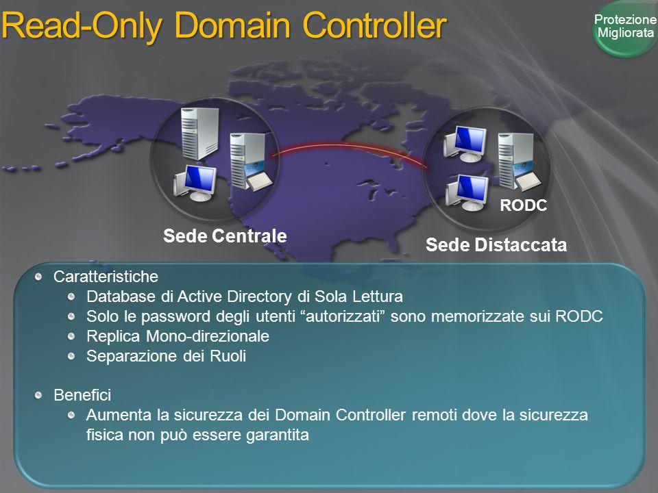 """Read-Only Domain Controller Sede Centrale Sede Distaccata Caratteristiche Database di Active Directory di Sola Lettura Solo le password degli utenti """""""