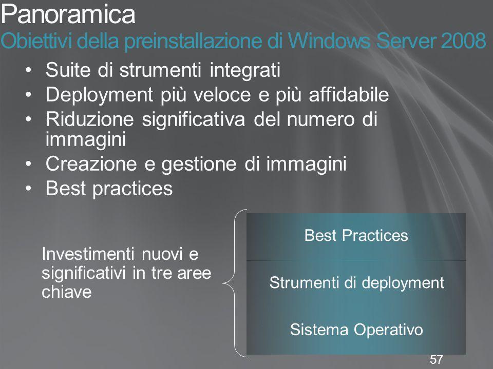 57 Panoramica Obiettivi della preinstallazione di Windows Server 2008 Suite di strumenti integrati Deployment più veloce e più affidabile Riduzione si