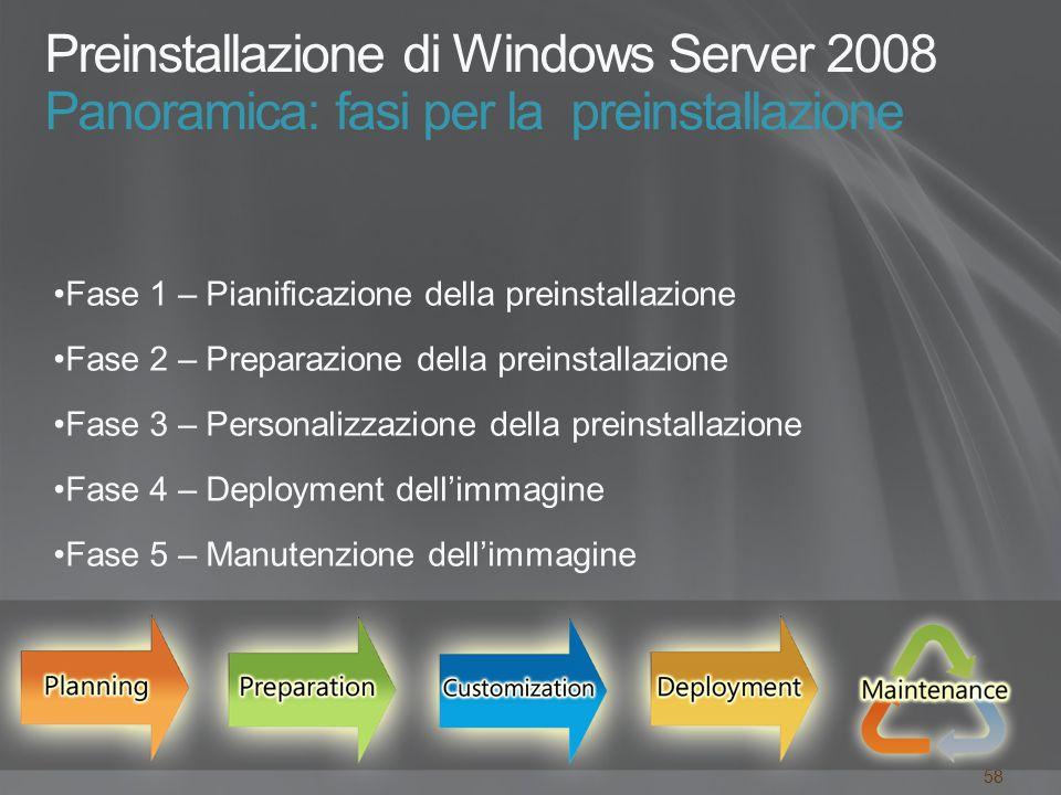 58 Preinstallazione di Windows Server 2008 Panoramica: fasi per la preinstallazione Fase 1 – Pianificazione della preinstallazione Fase 2 – Preparazione della preinstallazione Fase 3 – Personalizzazione della preinstallazione Fase 4 – Deployment dell'immagine Fase 5 – Manutenzione dell'immagine