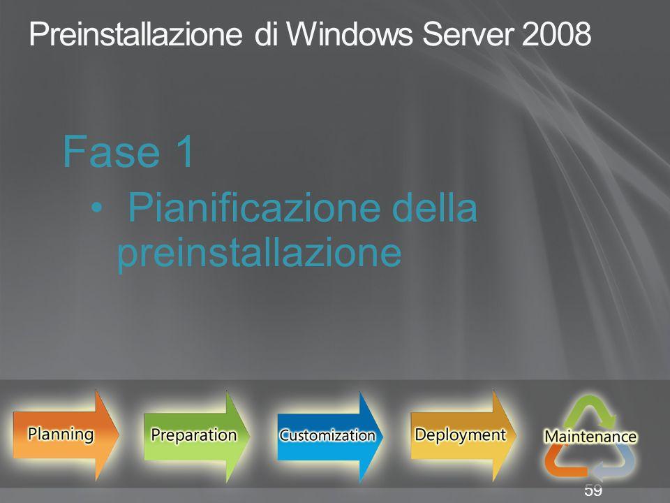 59 Preinstallazione di Windows Server 2008 Fase 1 Pianificazione della preinstallazione