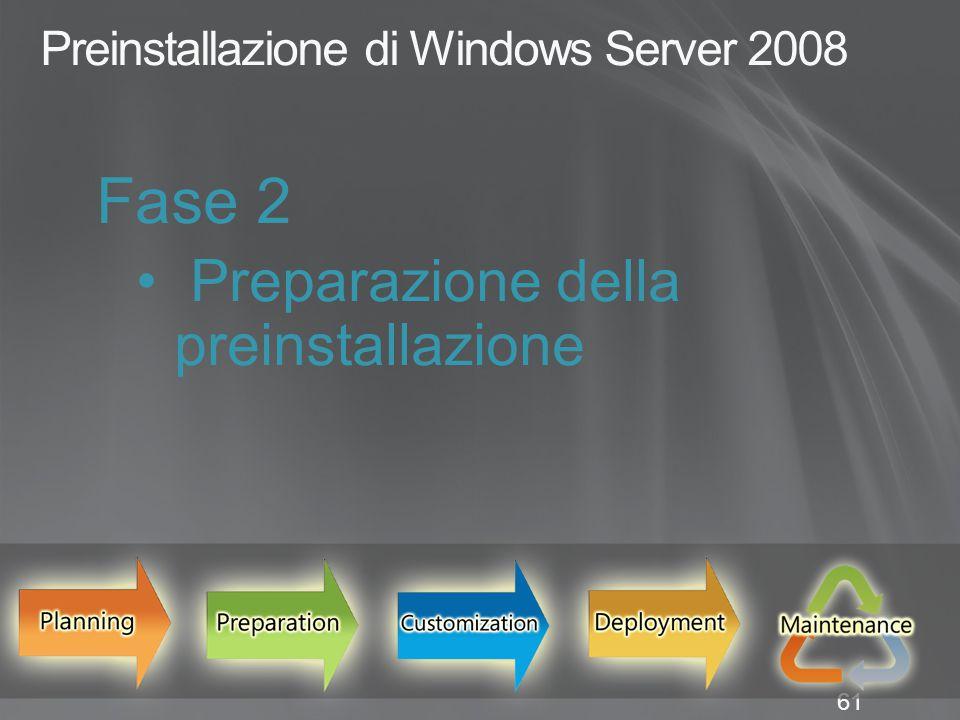 61 Preinstallazione di Windows Server 2008 Fase 2 Preparazione della preinstallazione