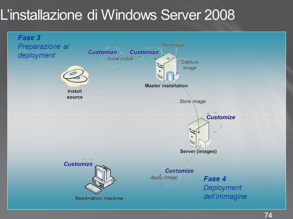 74 L'installazione di Windows Server 2008 Fase 4 Deployment dell'immagine Fase 3 Preparazione al deployment