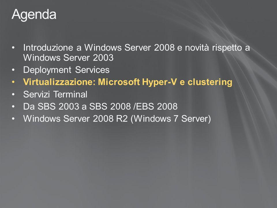 Agenda Introduzione a Windows Server 2008 e novità rispetto a Windows Server 2003 Deployment Services Virtualizzazione: Microsoft Hyper-V e clustering Servizi Terminal Da SBS 2003 a SBS 2008 /EBS 2008 Windows Server 2008 R2 (Windows 7 Server)