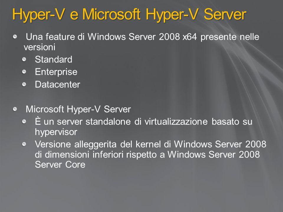 Una feature di Windows Server 2008 x64 presente nelle versioni Standard Enterprise Datacenter Microsoft Hyper-V Server È un server standalone di virtualizzazione basato su hypervisor Versione alleggerita del kernel di Windows Server 2008 di dimensioni inferiori rispetto a Windows Server 2008 Server Core Hyper-V e Microsoft Hyper-V Server