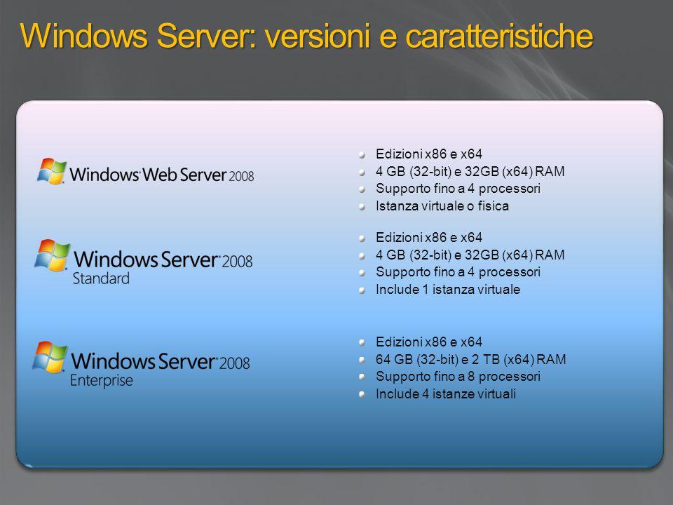 Windows Server: versioni e caratteristiche Edizioni x86 e x64 4 GB (32-bit) e 32GB (x64) RAM Supporto fino a 4 processori Istanza virtuale o fisica Edizioni x86 e x64 4 GB (32-bit) e 32GB (x64) RAM Supporto fino a 4 processori Include 1 istanza virtuale Edizioni x86 e x64 64 GB (32-bit) e 2 TB (x64) RAM Supporto fino a 8 processori Include 4 istanze virtuali