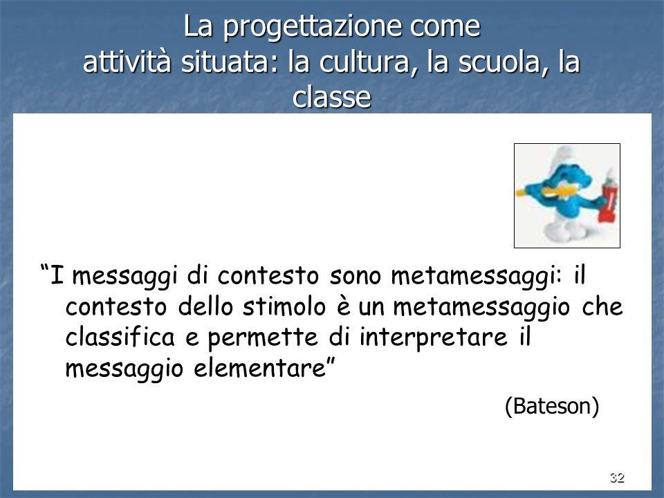32 La progettazione come attività situata: la cultura, la scuola, la classe I messaggi di contesto sono metamessaggi: il contesto dello stimolo è un metamessaggio che classifica e permette di interpretare il messaggio elementare (Bateson)