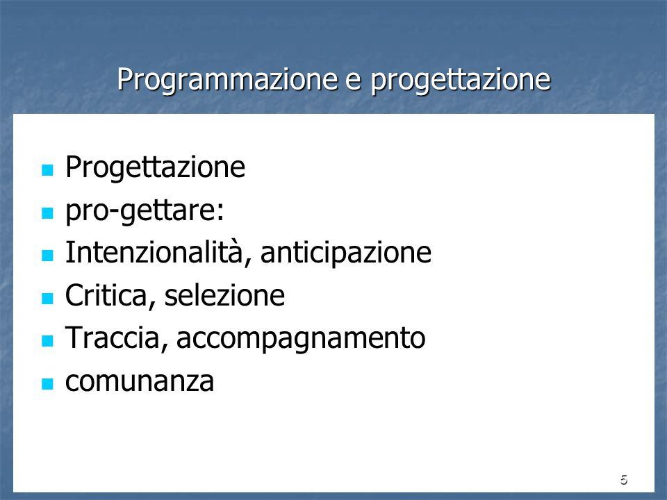 46 Programmazione, progettazione, percorsi e risultati: strategia e riflessione Lavorare per progetti: la progettazione tra strategia e riflessione