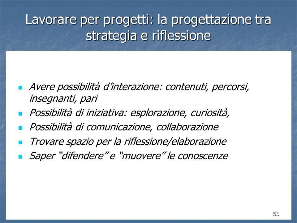 53 Lavorare per progetti: la progettazione tra strategia e riflessione Avere possibilità d'interazione: contenuti, percorsi, insegnanti, pari Avere possibilità d'interazione: contenuti, percorsi, insegnanti, pari Possibilità di iniziativa: esplorazione, curiosità, Possibilità di iniziativa: esplorazione, curiosità, Possibilità di comunicazione, collaborazione Possibilità di comunicazione, collaborazione Trovare spazio per la riflessione/elaborazione Trovare spazio per la riflessione/elaborazione Saper difendere e muovere le conoscenze Saper difendere e muovere le conoscenze