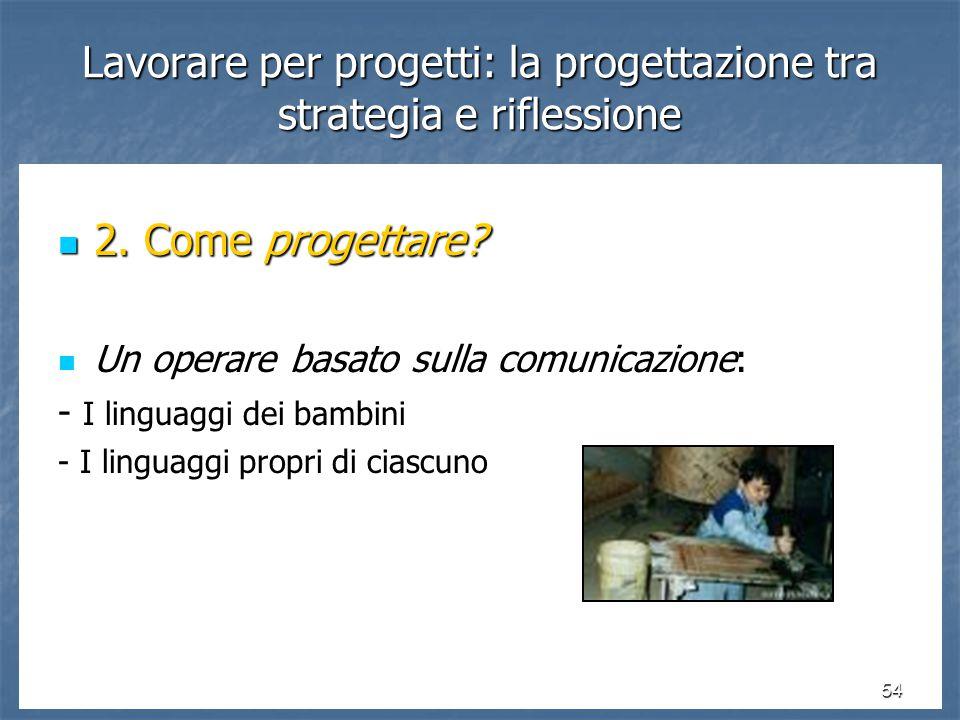 54 Lavorare per progetti: la progettazione tra strategia e riflessione 2.