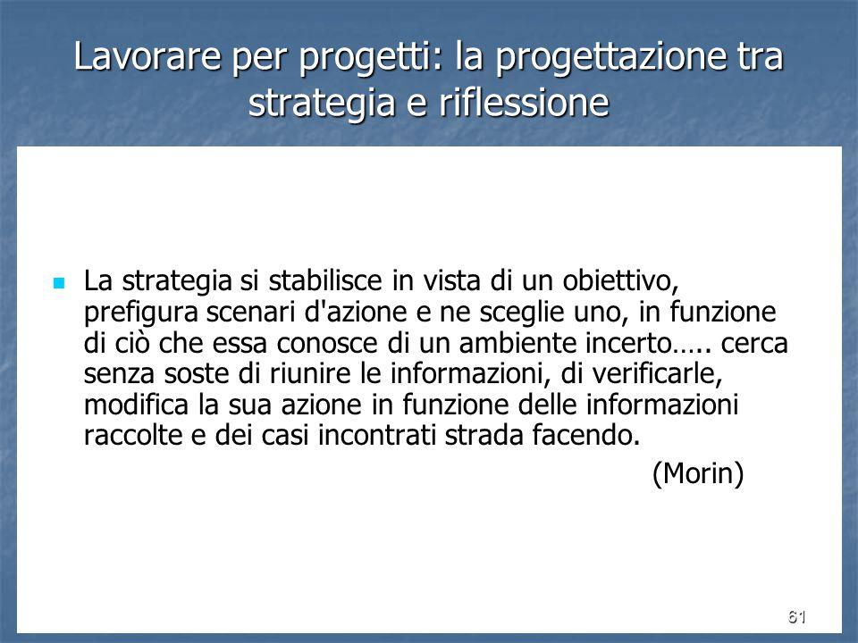 61 La strategia si stabilisce in vista di un obiettivo, prefigura scenari d azione e ne sceglie uno, in funzione di ciò che essa conosce di un ambiente incerto…..
