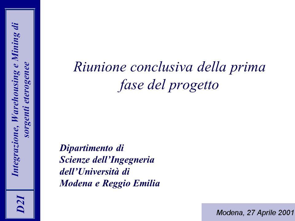 Riunione conclusiva della prima fase del progetto Dipartimento di Scienze dell'Ingegneria dell'Università di Modena e Reggio Emilia