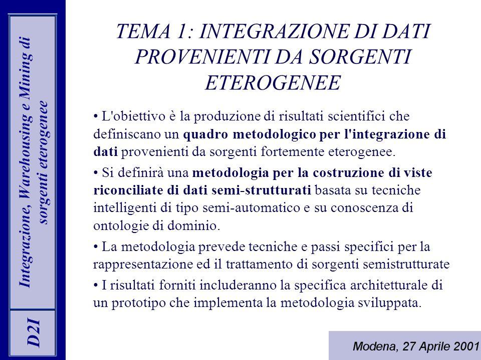 TEMA 1: INTEGRAZIONE DI DATI PROVENIENTI DA SORGENTI ETEROGENEE L obiettivo è la produzione di risultati scientifici che definiscano un quadro metodologico per l integrazione di dati provenienti da sorgenti fortemente eterogenee.