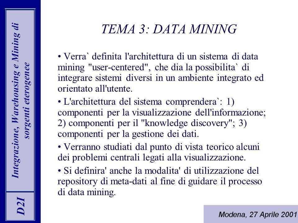 Verra` definita l architettura di un sistema di data mining user-centered , che dia la possibilita` di integrare sistemi diversi in un ambiente integrato ed orientato all utente.