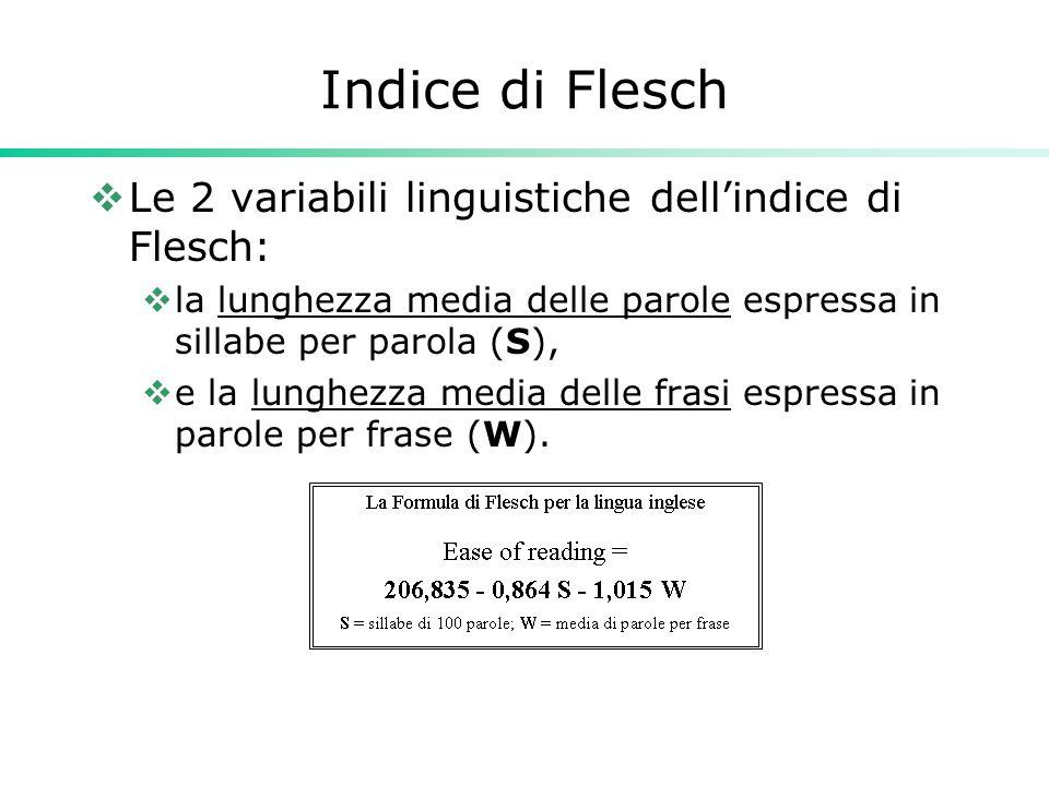 Indice di Flesch  Le 2 variabili linguistiche dell'indice di Flesch:  la lunghezza media delle parole espressa in sillabe per parola (S),  e la lun