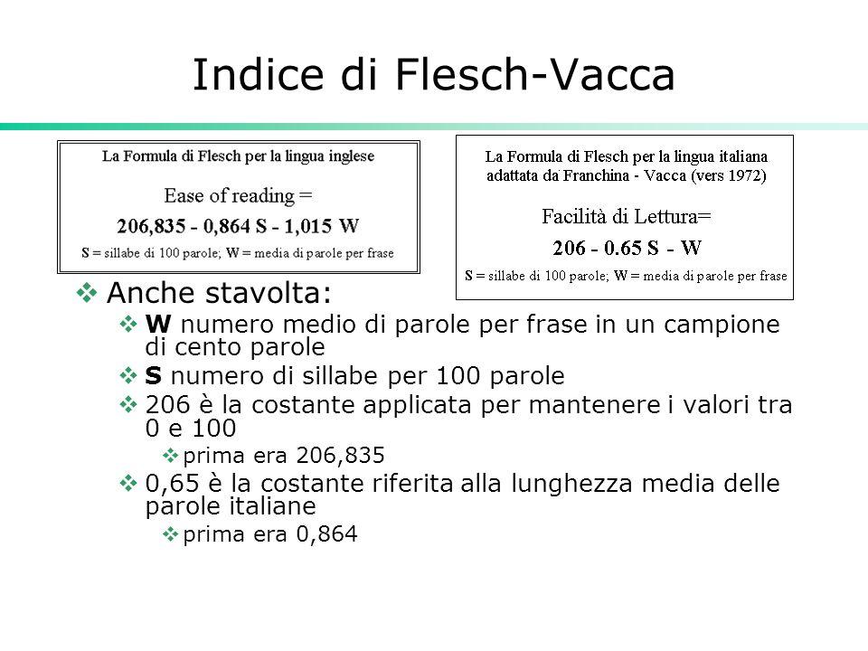 Indice di Flesch-Vacca  Anche stavolta:  W numero medio di parole per frase in un campione di cento parole  S numero di sillabe per 100 parole  20