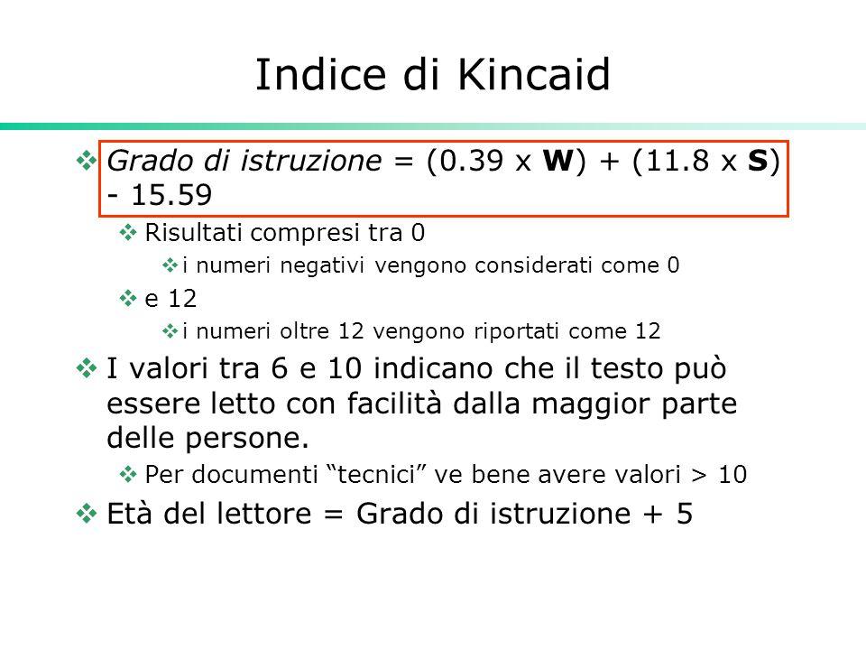 Indice di Kincaid  Grado di istruzione = (0.39 x W) + (11.8 x S) - 15.59  Risultati compresi tra 0  i numeri negativi vengono considerati come 0 