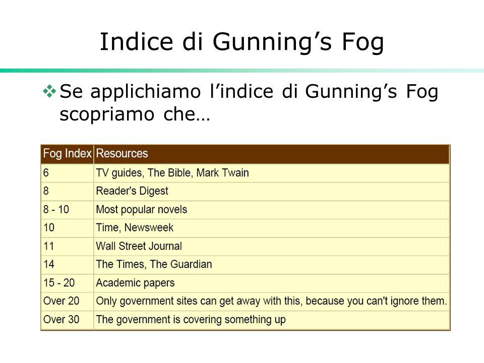 Indice di Gunning's Fog  Se applichiamo l'indice di Gunning's Fog scopriamo che…