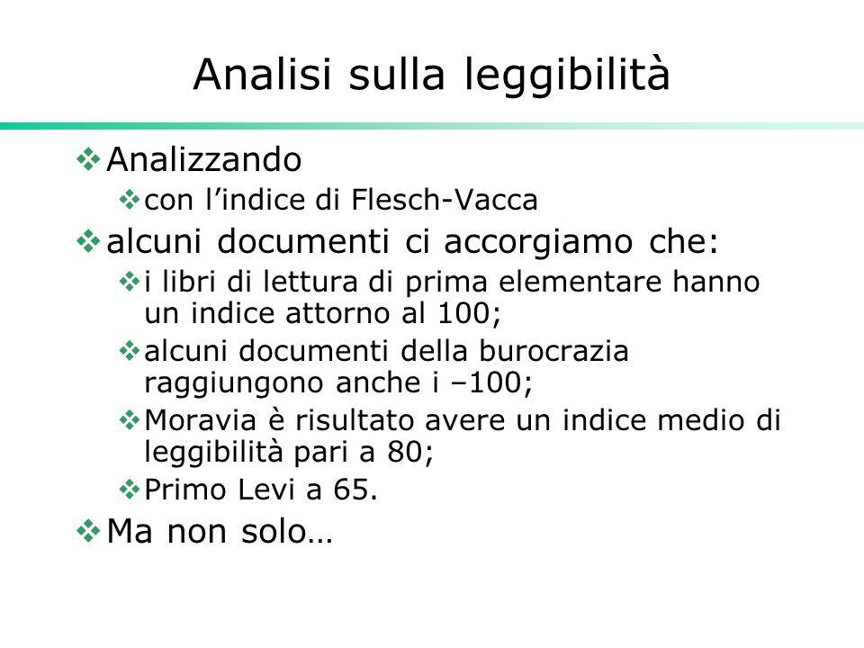 Analisi sulla leggibilità  Analizzando  con l'indice di Flesch-Vacca  alcuni documenti ci accorgiamo che:  i libri di lettura di prima elementare
