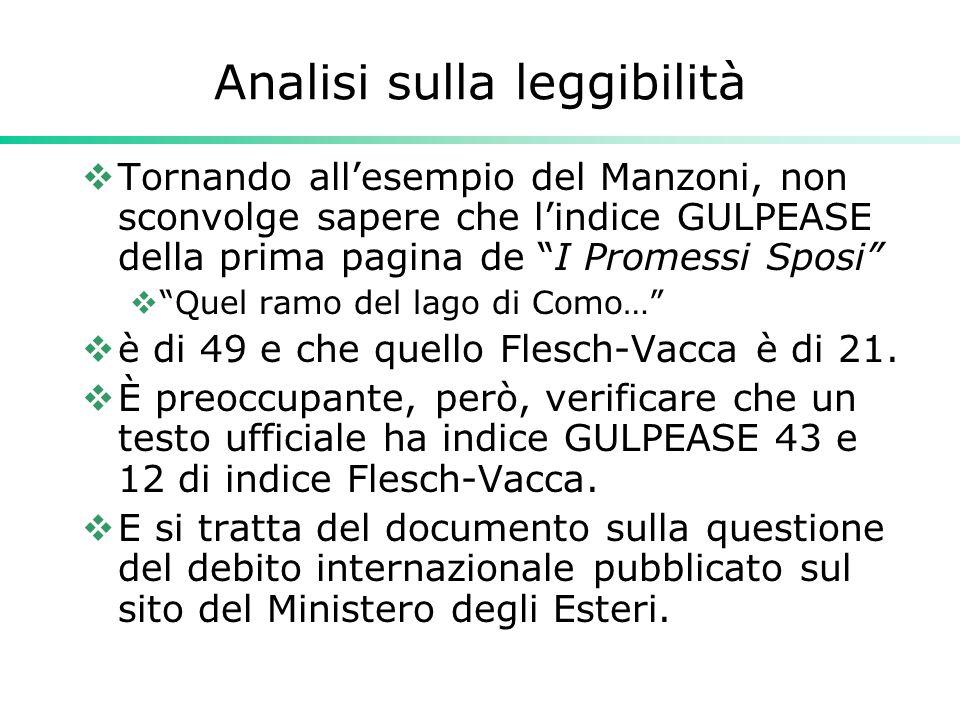 """Analisi sulla leggibilità  Tornando all'esempio del Manzoni, non sconvolge sapere che l'indice GULPEASE della prima pagina de """"I Promessi Sposi""""  """"Q"""