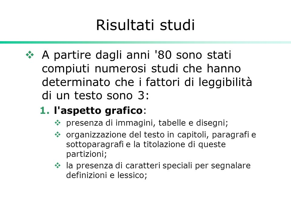 Adattamento della formula  Il fatto che la formula è nata per l inglese è stato affrontato da Roberto Vacca, il quale, nel 1972, ha adattato i parametri della formula alla lingua italiana.