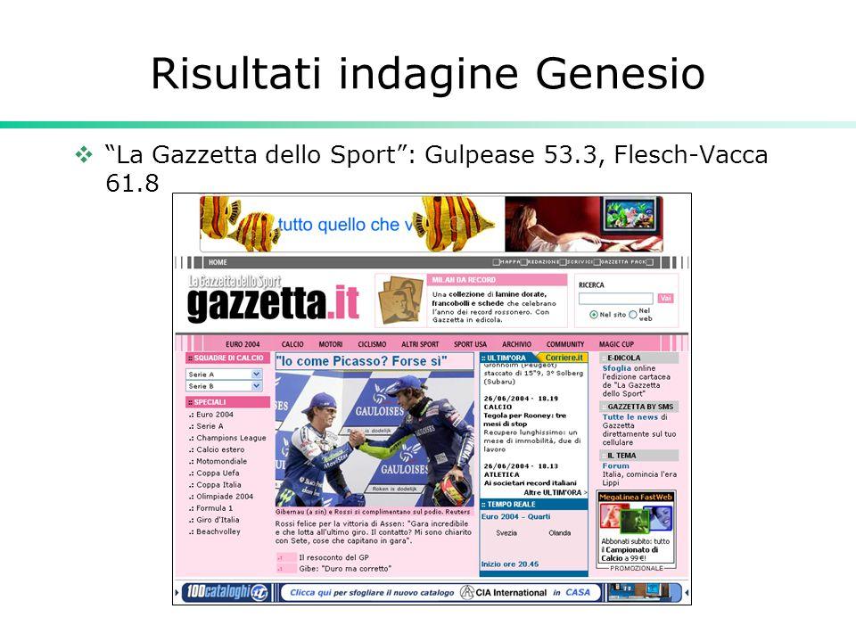 """Risultati indagine Genesio  """"La Gazzetta dello Sport"""": Gulpease 53.3, Flesch-Vacca 61.8"""
