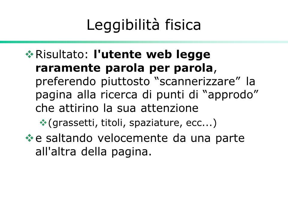 """Leggibilità fisica  Risultato: l'utente web legge raramente parola per parola, preferendo piuttosto """"scannerizzare"""" la pagina alla ricerca di punti d"""