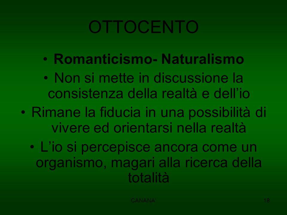 OTTOCENTO Romanticismo- Naturalismo Non si mette in discussione la consistenza della realtà e dell'io Rimane la fiducia in una possibilità di vivere e