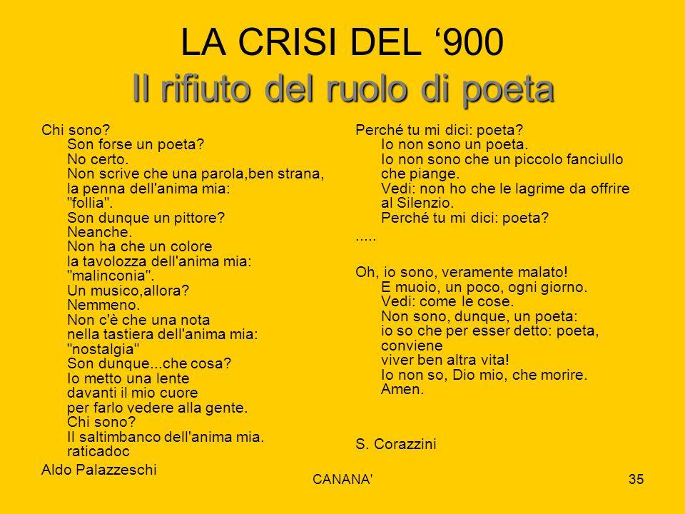 Il rifiuto del ruolo di poeta LA CRISI DEL '900 Il rifiuto del ruolo di poeta Chi sono? Son forse un poeta? No certo. Non scrive che una parola,ben st
