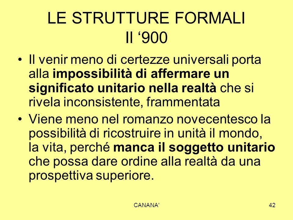 LE STRUTTURE FORMALI Il '900 Il venir meno di certezze universali porta alla impossibilità di affermare un significato unitario nella realtà che si ri
