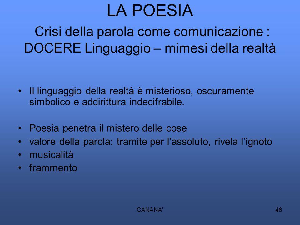 LA POESIA Crisi della parola come comunicazione : DOCERE Linguaggio – mimesi della realtà Il linguaggio della realtà è misterioso, oscuramente simboli