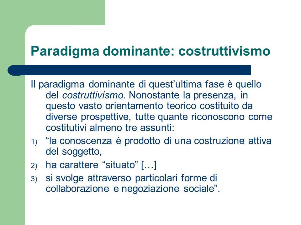 Paradigma dominante: costruttivismo Il paradigma dominante di quest'ultima fase è quello del costruttivismo. Nonostante la presenza, in questo vasto o