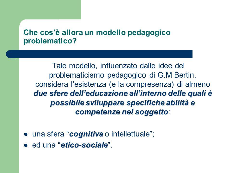 Che cos'è allora un modello pedagogico problematico? due sfere dell'educazione all'interno delle quali è possibile sviluppare specifiche abilità e com
