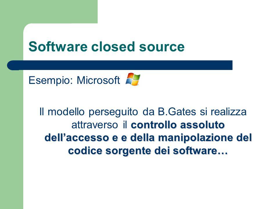 Software closed source Esempio: Microsoft controllo assoluto dell'accesso e e della manipolazione del codice sorgente dei software… Il modello persegu
