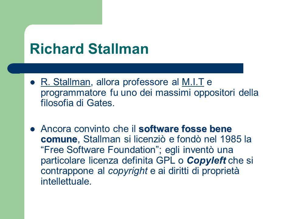Richard Stallman R. Stallman, allora professore al M.I.T e programmatore fu uno dei massimi oppositori della filosofia di Gates. R. StallmanM.I.T soft